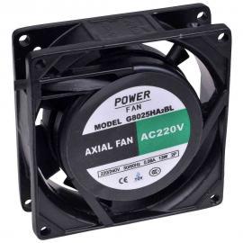 """Ventilador para incubadoras """"Powerfan"""" 80x80x25 mm con cojinete de bolas, rejilla y cables"""