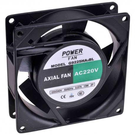"""Ventilador """"Powerfan"""" 92x92x25 mm, cojinete de bolas, rejilla y cables"""