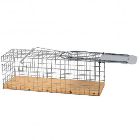 Jaula trampa para ratas hecha de malla galvanizada, con una base de madera.