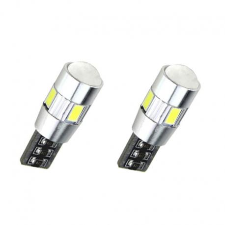 Pareja bombillas T10 can bus 6led C/ Lupa 5730smd