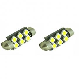 Pareja bombillas LED festoon can bus 36mm de 6led