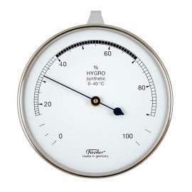Higrómetro sintético para medir la humedad. En caja de metal cromado con percha, bisel de aluminio de Diámetro 87 mm.