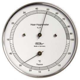 TermoHigrómetro pelo natural para medir Temperatura y humedad con caja de acero inoxidable diámetro 103mm