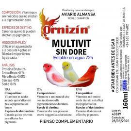ORNIZIN Multivit Sin Dore complemento de vitaminas y aminoácidos 160ML