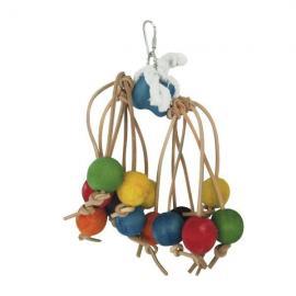 Juguete de madera con bolas para pájaros 22 cm