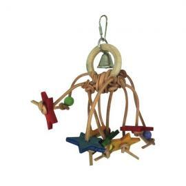 Juguete de madera con estrellas y campana para pájaros 21 cm