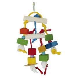 Juguete de madera Maniquí con conchas para pájaros 27 cm con maderas y cuerda