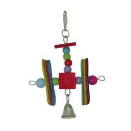 Juguete de madera Hélices con campana para pájaros 18 cm con bolas