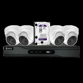 Kit de Videovigilancia Safire Preconfigurado 4 Cámaras Domo Lente Fija 1080p Disco Duro 1TB