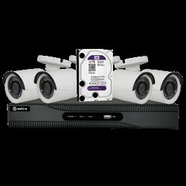 Kit de Videovigilancia Safire Preconfigurado 4 Cámaras Bullet Lente Fija 1080p