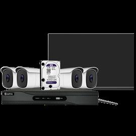 Kit de Videovigilancia Safire Preconfigurado Kit 4K Ultra HD CCTV 4 Cámaras Compactas lente Fija 4K