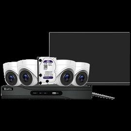 Kit de Videovigilancia Safire Preconfigurado Kit 4K Ultra HD CCTV 4 Cámaras Domo lente Fija 4K