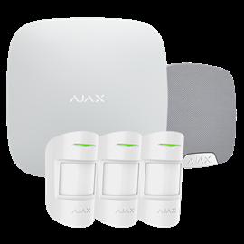 Kit Alarma Hogar Ajax Inalámbrico 868 MHz Jeweller 3 Detectores PIR Sirena Exterior Certificado Grado 2 Conexion Ethernet GPRS