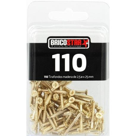 SET 110 PCS TIRAFONDOS 2,5 X 25 MM
