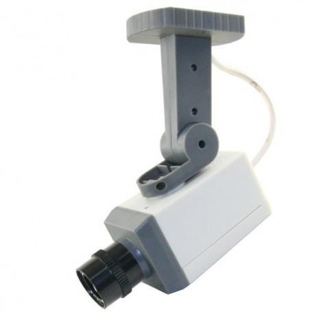 Cámara simulada cámara falsa no operativa con lente y Led intermitente giro horizontal al detectar movimiento