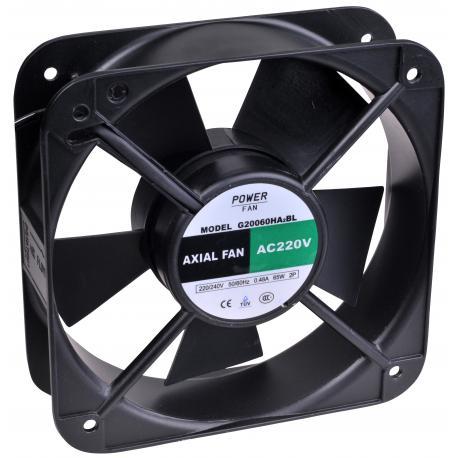"""Ventilador """"Powerfan"""" 200x200x60 mm, cojinete de bolas, rejilla y cables"""
