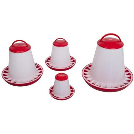 Comedero tipo tolva con tapa plástica rojo blanco