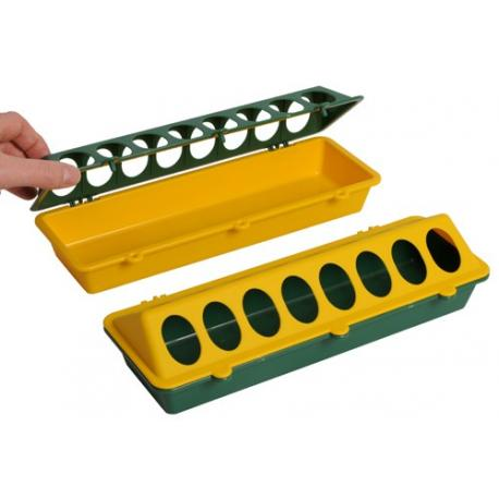 Comedero para pollitos en plástico verde y amarillo
